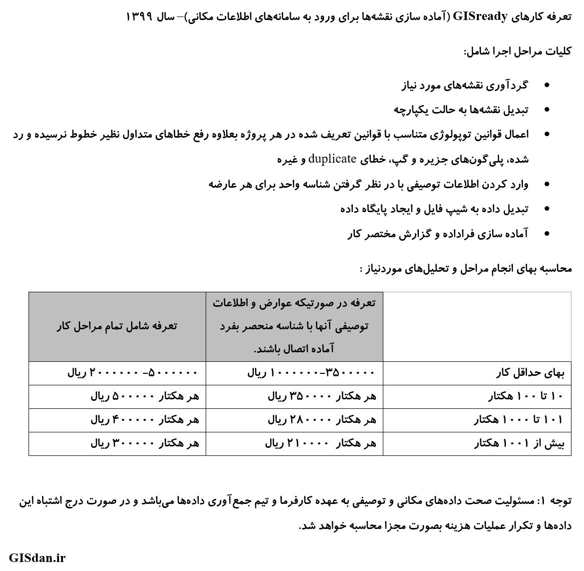 جدول تعرفه انجام پروژه های GIS ready سال ۹۹